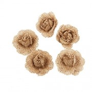 LUOEM Burlap Flowers Hessian Small Rose Bud Flower Crafts Rustic Wedding Party Decor Pack of 5 Brown