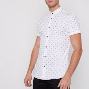 River Island Wot slim-fit overhemd met korte mouwen en tegelprint