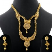Silver Shine Traditional Gold Plated Ethnic Exclusive Golden Kundan Stone Studded Peacock Style Two Layer Designer Long Necklace wedding Jewellery Set For Girls and Women