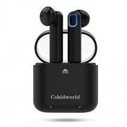 Wireless Earbuds,Cshidworld Bluetooth Headphones Mini in-Ear Headsets Sports Earphone with Noise Cancelling Built-in Mic and Charging Case for iPhone Samsung and Most Smartphones (Black)
