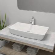 vidaXL Мивка за баня със смесител, керамична, правоъгълна, бяла