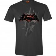 Batman v Superman - Cubic Logo Men T-shirt - Anthracite, Size: XL