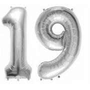 Stylewell Solid Silver Color 2 Digit Number (19) 3d Foil Balloon for Birthday Celebration Anniversary Parties