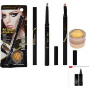 Imported Gell Eye Liner Eyebrow Brown Brush 2 in 1 With Kajal-95001
