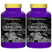 Piping Rock Activated Charcoal 260 mg Natural Vegetable Origin 2 Bottles x 180 Quick Release Capsules Dietary Supplement