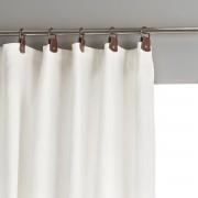 Am.pm Cortinado em linho lavado, passadeiras em pele, Privatebranco-espuma- 140 x 350 cm