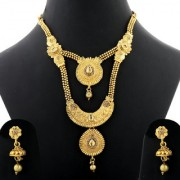 Silver Shine Traditional Gold Plated Ethnic Golden Kundan Stone Studded Coin Style Design Two layer Self Textured Designer Long Necklace Wedding Jewellery set for Girls and Women