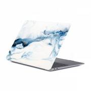 Set protectie 2 in 1 pentru Macbook Air 13.3 inch A1932 cu husa din plastic si folie ecran TPU, model marmura albastru alb