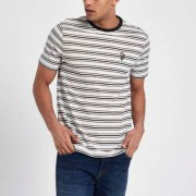 River Island Mens Cream slim fit stripe embroidered T-shirt - Size S (