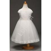 Lejdi Biała sukienka tiulowa z kwiatkami i perełkami sukienki dla dziewczynek na komunie