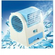 ROYALDEALSHOP Mini Fan Air Cooler with Water Tray Portable Desktop Dual Blade Less Air Cooler USB Super Fan