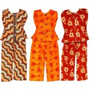 Wajbee Sleek Girls Cotton Night Suit Set of 3