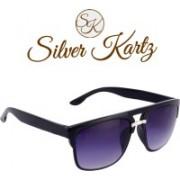 Silver Kartz Wayfarer, Rectangular Sunglasses(Violet, Black)