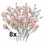 Bellatio flowers & plants 8x Roze Magnolia kunstbloemen tak 105 cm