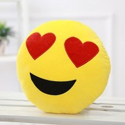 Funny Teddy Plush Heart Eyed Smiley Emoji Faces Decor Cushion/Pillow, 35cm (Yellow)