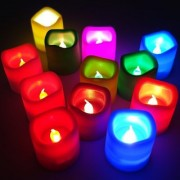 LED Candles Colour Changing Flickering Flameless LED Candle Tea light - Diwali Decoration (Multicolour) - Set of 12