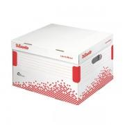 Scatole per archivio in cartone Esselte Container Speedbox L - 129371 Scatole per documenti in cartone 36,4x43,3x26,3 cm formato utile 35,4x42,3 cm dorso 26,3 cm con chiusura ad aletta di colore bianco/rosso in confezione da 15 Pz.