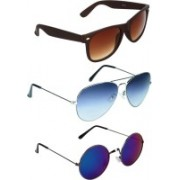 Zyaden Wayfarer, Aviator, Round Sunglasses(Brown, Blue, Blue)