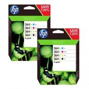 HP 364 XL Promo-Pack zestaw czarny / cyan / magenta / zólty oryginał 2x N9J74AE