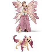 Schleich Bayala Fantasy Life Set of 2: Feya in Festive Clothes (70505) with her Rose Puppy (70526) Bagged Together Partially Concealed: Durable, Highly Detailed, Realistic, Hand-painted