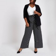 River Island Womens Plus Size Black polka dot belted wide leg trousers (Size 28)