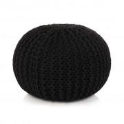 vidaXL Pufe tricotado à mão algodão 50x35 cm preto