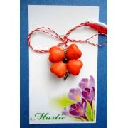 Martisor handmade cu floare rosie