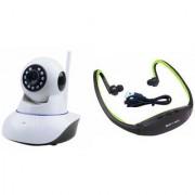 Zemini Wifi CCTV Camera and BS19C Bluetooth Headset for LG OPTIMUS L7 II DUAL(Wifi CCTV Camera with night vision  BS19C Bluetooth Headset With Mic )