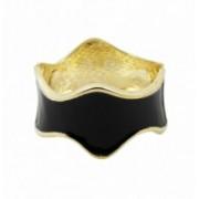 Náramek pevný zlatý vlna smalt 41265 Černá 41265