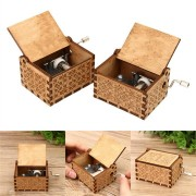 Hand Crank Collectible Music Box Engraved Wooden Box Theme Toys Birthday Craft Gifts