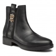 Боти TOMMY HILFIGER - Th Interlock Leather Flat Boot FW0FW05181 Black BDS