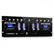 Resident DJ DJ405USB Mesa de mezclas DJ de 4 canales 2 x Bluetooth USB SD AUX Función grabadora (DJMM2-DJ405USB-BK)