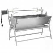 vidaXL Vas-és rozsdamentes acél grillezési Forgónyárs