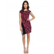 Laundry by Shelli Segal Print Matte Jersey T-Body Dress with Seaming Vivid Pink