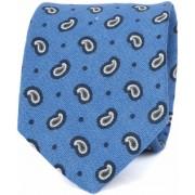 Krawatte Leinen Paisley Blau - Blau