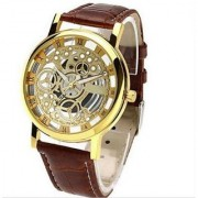 Transparent Watch Brown Belt Analog Mens Watches by 7Star