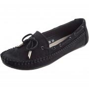Zapatos Planos Ladies Bowknot Round Toe Flat Shoes-Negro