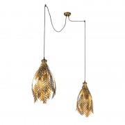 QAZQA Vintage Pendant Lamp Leaf 2 Gold - Botanica