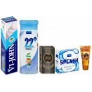 VI-JOHN Travel Shaving Kit (Shaving Cream Classical 125GM, Perfume Cobra Edition 60ml, After Shave Splash 50ml, Hair Gel 25ML & Talcum 22 Degree 100Gm) Travel Shaving Kit(Blue)