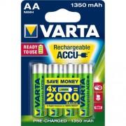 Varta Varta Ready2use Hr06 1350 Mah. Numero Di Batterie Incluse: 4 Pezzo(I), Capacità Della Batteria: 1350 Mah, Tecnologia Batteria: Nichel-Metallo Id