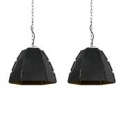 QAZQA Set of 2 design hanging lamps black - Niro