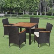 vidaXL polyrattan kerti étkezőgarnitúra 1 fa asztallapos asztallal és 4 székkel