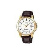 Relógio Masculino Casio MTP-V004GL-7AU - Dourado/Couro Marrom