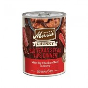 Merrick Chunky Grain-Free Big Texas Steak Tips Dinner Canned Dog Food, 12.7-oz, case of 12