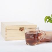 YourSurprise Boîte à thé en bois avec verre gravé