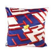 Seletti Coussin Toiletpaper / Labyrinthe - 50 x 50 cm - Seletti blanc,bleu,rouge en tissu