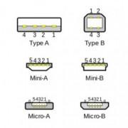 USB kabel na nabíjení mobilu se svítícími konektory