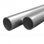 vidaXL Тръби неръждаема стомана, 2 бр, кръгли, V2A, 1 м, Ø42x1,8 мм