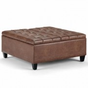 Brooklyn + Max Blake 36 inch Wide Traditional Square Storage Ottoman in Distressed Umber Brown Faux Air Leather