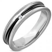 Ezüst és fekete színű nemesacél gyűrű cirkónia kristállyal-5